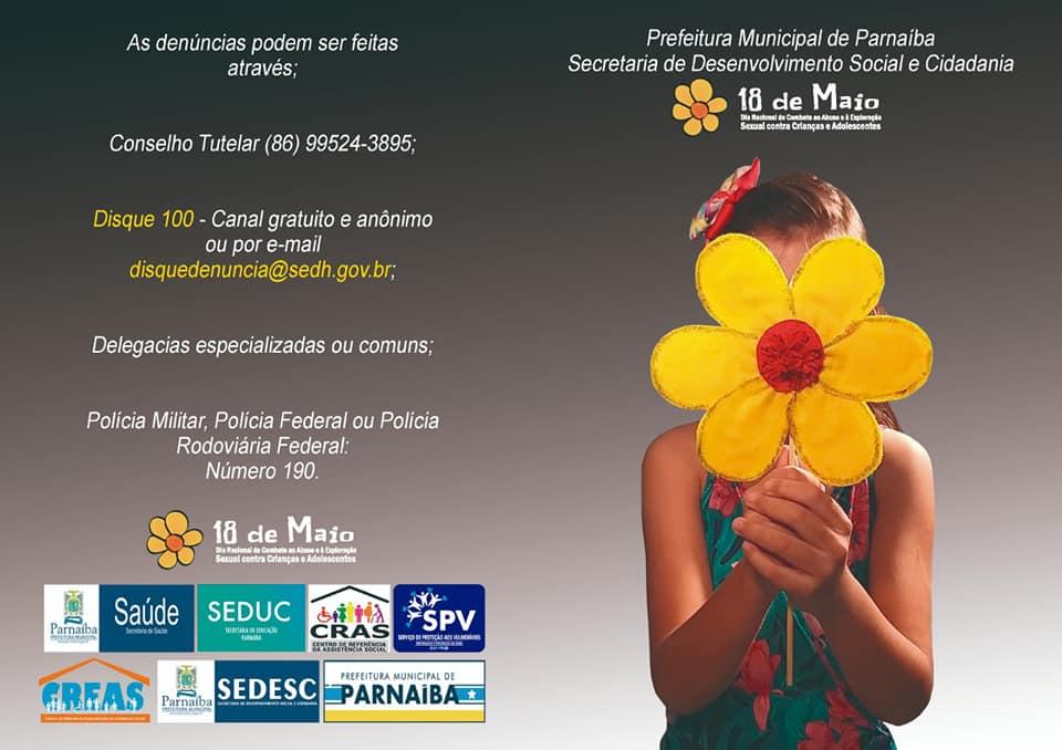 SEDESC solicita ajuda da população nas denúncias de abuso e exploração a crianças e adolescentes em Parnaíba